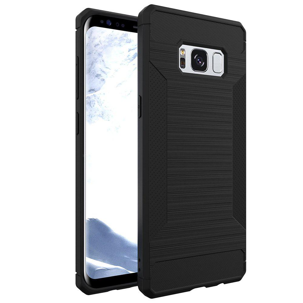 Cover TPU Litchi Grain Fundas  for Samsung Galaxy S8 Plus Case - BLACK