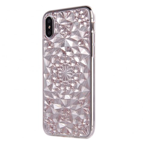 Silicone Soft Back Glitter 3D Diamond Ring  Stand Cover for iPhone X Case - PINK