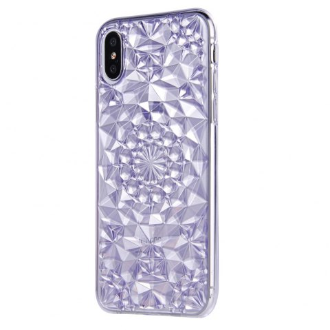 Silicone Soft Back Glitter 3D Diamond Ring  Stand Cover for iPhone X Case - PURPLE