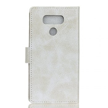 Genuine Quality Retro Style Crazy Horse Pattern Flip PU Leather Wallet Case for LG G6 - WHITE