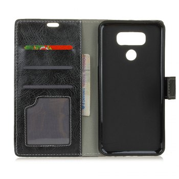 Genuine Quality Retro Style Crazy Horse Pattern Flip PU Leather Wallet Case for LG G6 - BLACK