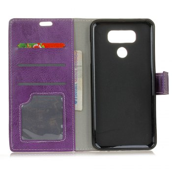 Genuine Quality Retro Style Crazy Horse Pattern Flip PU Leather Wallet Case for LG G6 - PURPLE