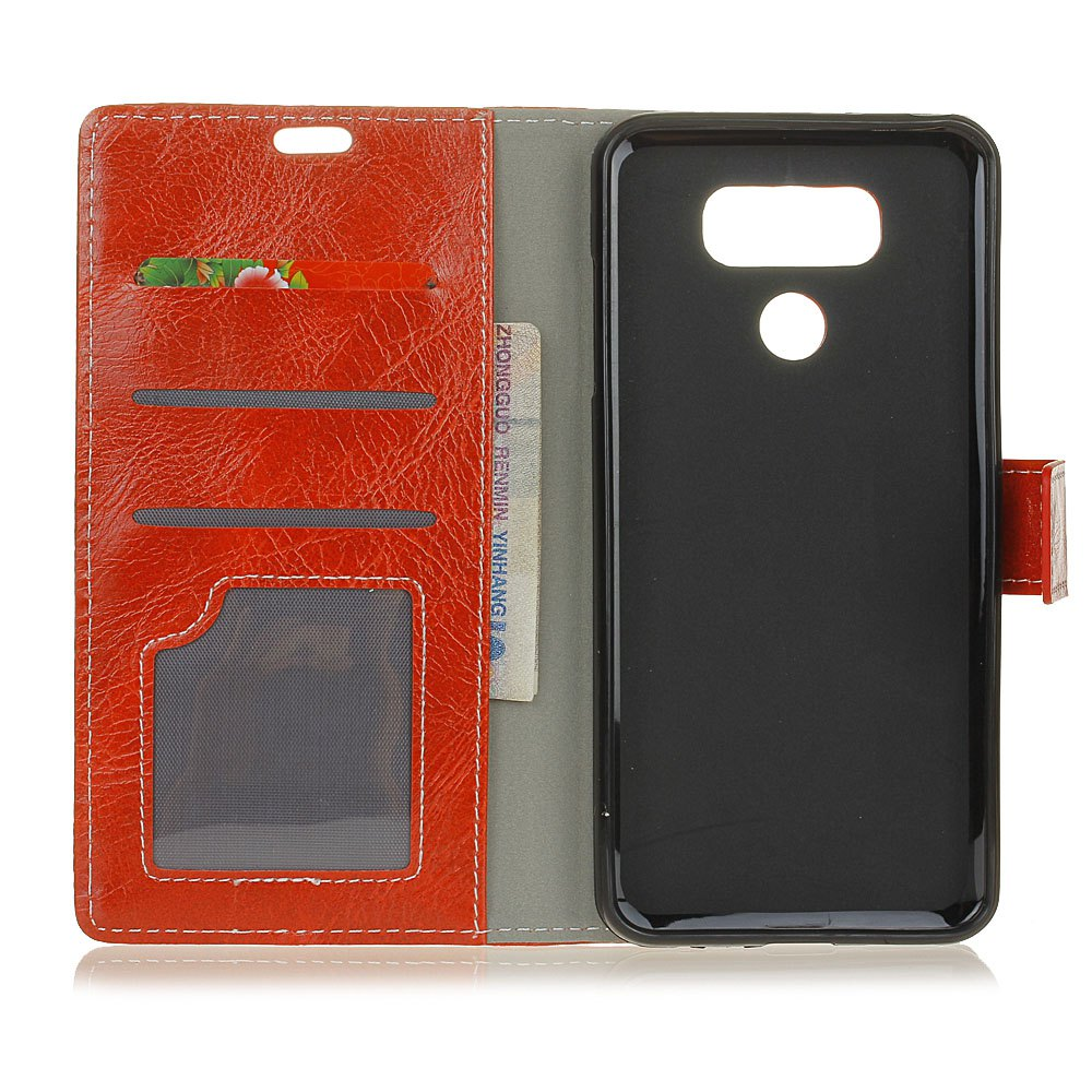 Genuine Quality Retro Style Crazy Horse Pattern Flip PU Leather Wallet Case for LG G6 - RED