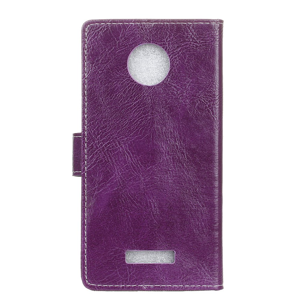 Genuine Quality Retro Style Crazy Horse Pattern Flip PU Leather Wallet Case for MOTO Z - PURPLE