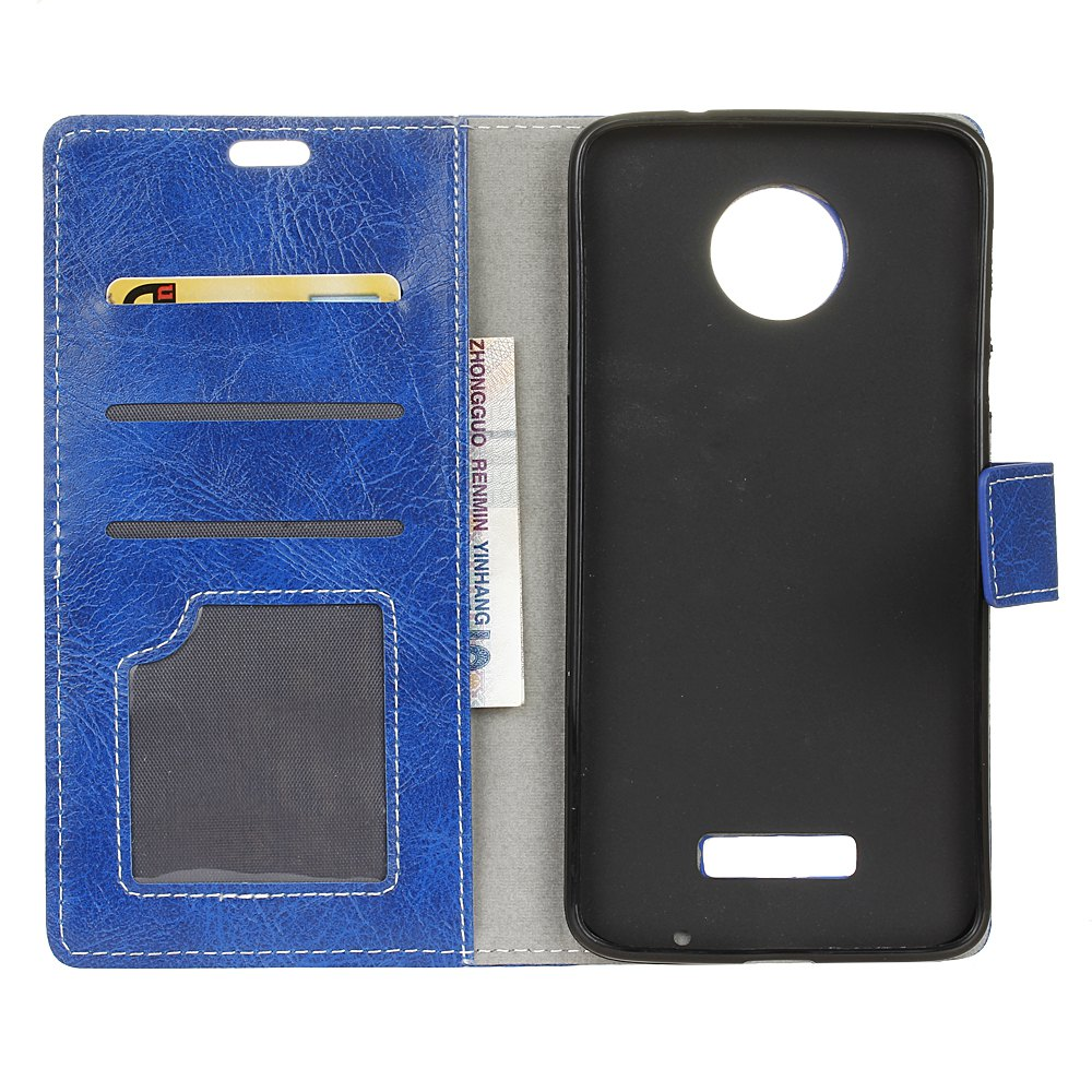 Genuine Quality Retro Style Crazy Horse Pattern Flip PU Leather Wallet Case for MOTO Z - BLUE