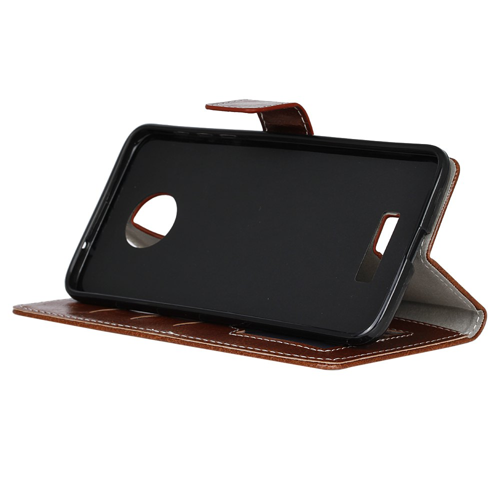 Genuine Quality Retro Style Crazy Horse Pattern Flip PU Leather Wallet Case for MOTO Z - BROWN