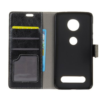 Genuine Quality Retro Style Crazy Horse Pattern Flip PU Leather Wallet Case for MOTO Z Force 2017 - BLACK