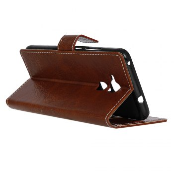 Genuine Quality Retro Style Crazy Horse Pattern Flip PU Leather Wallet Case for BQ V - BROWN