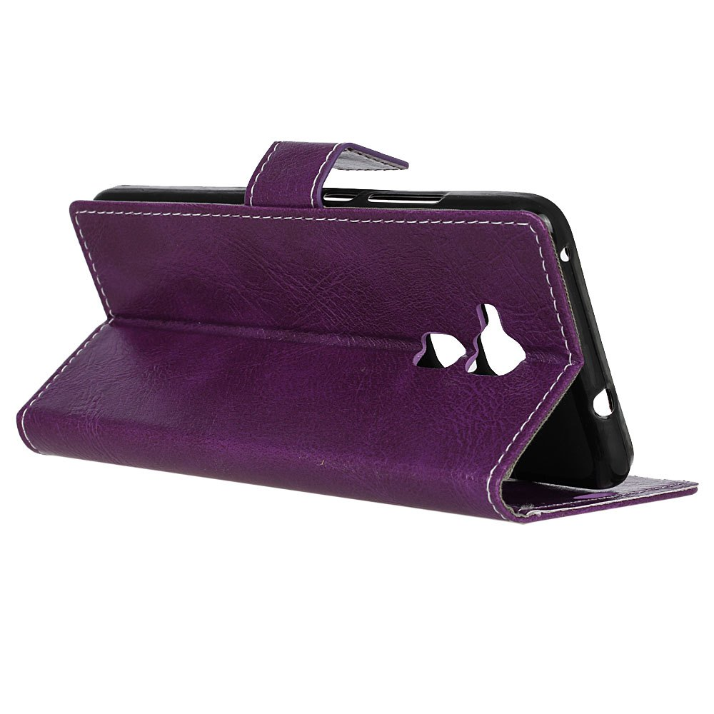 Genuine Quality Retro Style Crazy Horse Pattern Flip PU Leather Wallet Case for BQ V - PURPLE