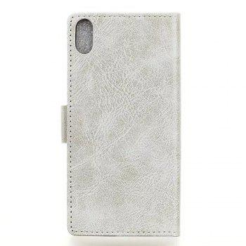Genuine Quality Retro Style Crazy Horse Pattern Flip PU Leather Wallet Case for BQ X5 - WHITE