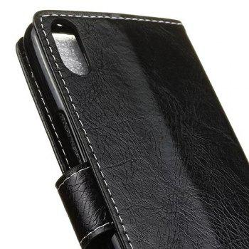 Genuine Quality Retro Style Crazy Horse Pattern Flip PU Leather Wallet Case for BQ X5 - BLACK