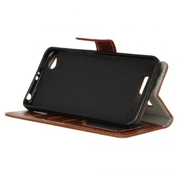 Genuine Quality Retro Style Crazy Horse Pattern Flip PU Leather Wallet Case for Xiaomi Redmi 4A - BROWN