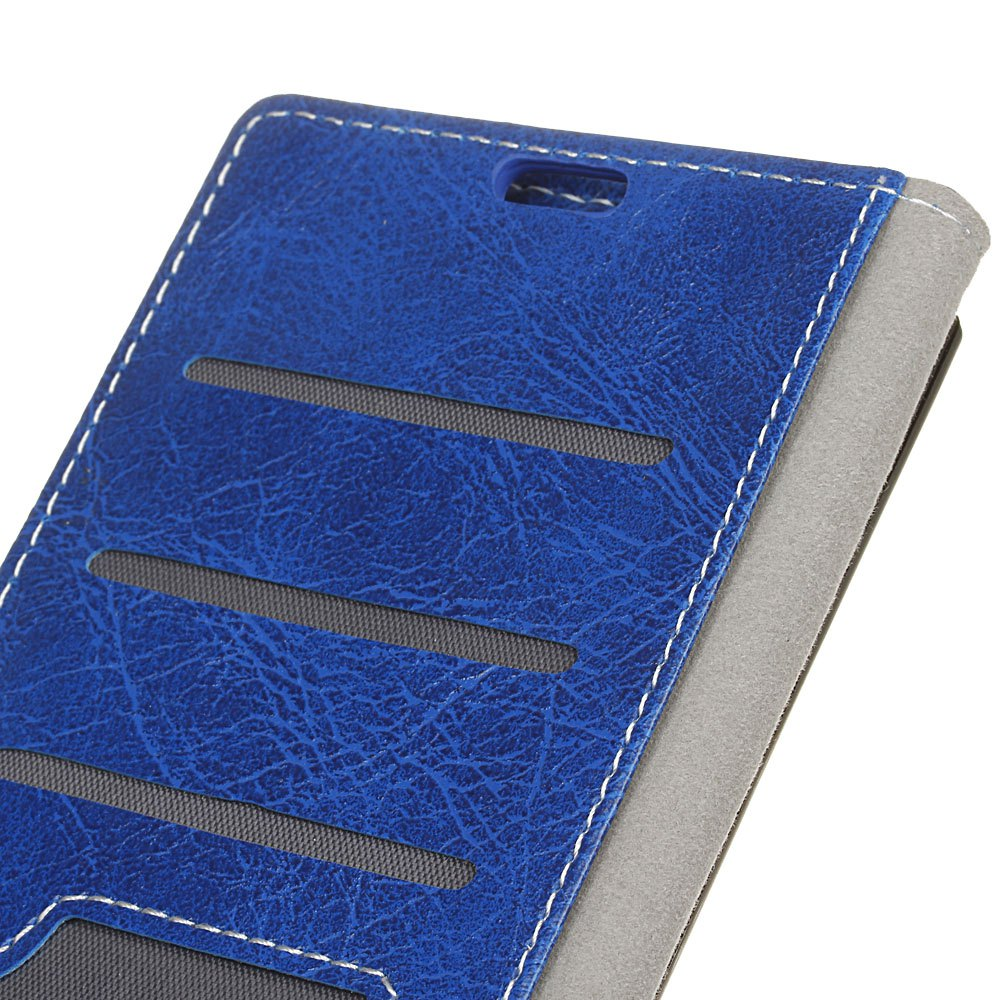 Genuine Quality Retro Style Crazy Horse Pattern Flip PU Leather Wallet Case for Xiaomi Redmi 4A - BLUE