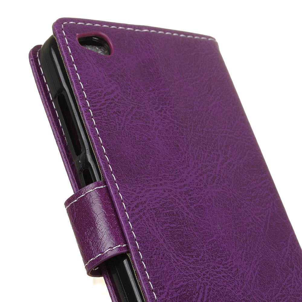 Genuine Quality Retro Style Crazy Horse Pattern Flip PU Leather Wallet Case for Xiaomi Redmi 4A - PURPLE
