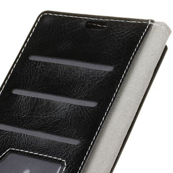 Genuine Quality Retro Style Crazy Horse Pattern Flip PU Leather Wallet Case for  Xiaomi Redmi Note 4 - BLACK
