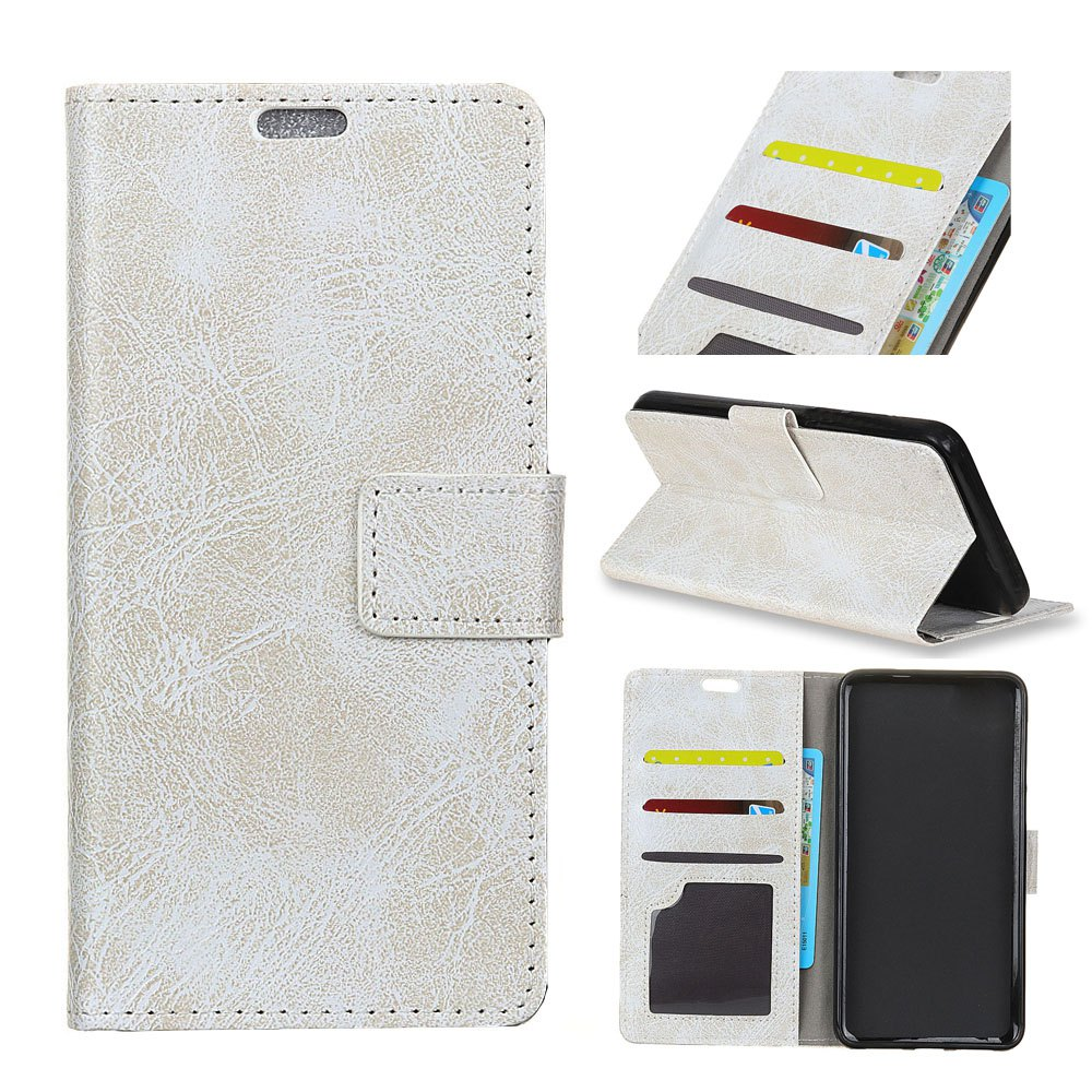 Genuine Quality Retro Style Crazy Horse Pattern Flip PU Leather Wallet Case for Huawei Y6 Pro - WHITE