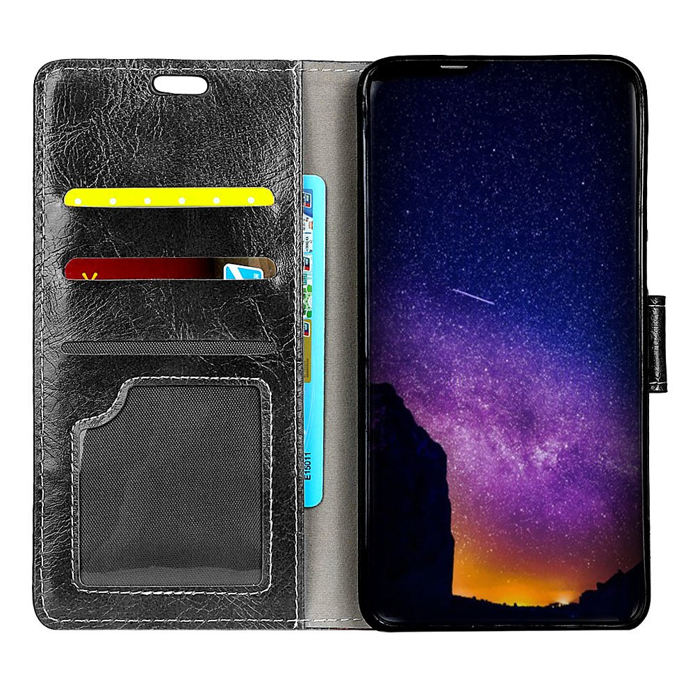 Genuine Quality Retro Style Crazy Horse Pattern Flip PU Leather Wallet Case for Huawei Y6 Pro - BLACK