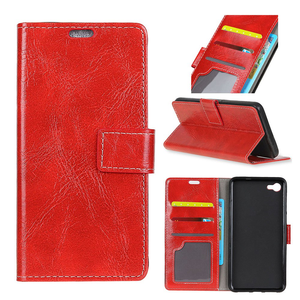 Genuine Quality Retro Style Crazy Horse Pattern Flip PU Leather Wallet Case for Huawei Y6 Pro - RED