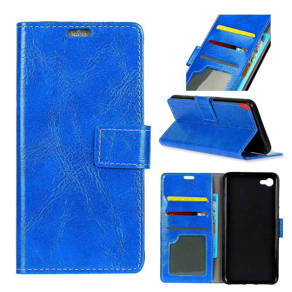Genuine Quality Retro Style Crazy Horse Pattern Flip PU Leather Wallet Case for Huawei Y6 Pro - BLUE