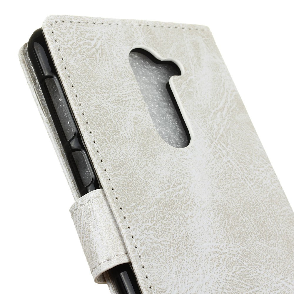 Genuine Quality Retro Style Crazy Horse Pattern Flip PU Leather Wallet Case for Huawei Honor 6 Plus - WHITE