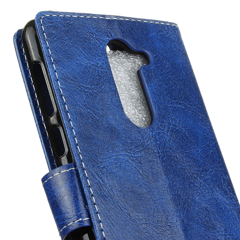 Genuine Quality Retro Style Crazy Horse Pattern Flip PU Leather Wallet Case for Huawei Honor 6 Plus - BLUE