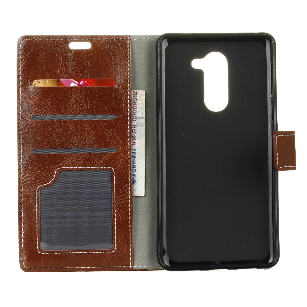Genuine Quality Retro Style Crazy Horse Pattern Flip PU Leather Wallet Case for Huawei Honor 6 Plus - BROWN