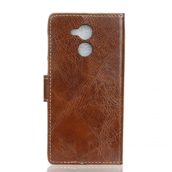 Genuine Quality Retro Style Crazy Horse Pattern Flip PU Leather Wallet Case for Huawei Honor V9 Play - BROWN