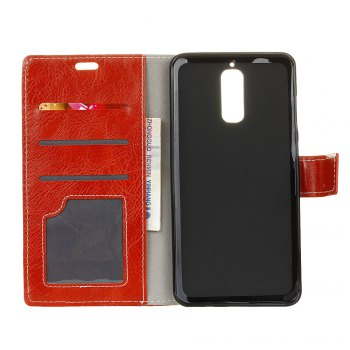 Genuine Quality Retro Style Crazy Horse Pattern Flip PU Leather Wallet Case for Huawei Mate 9 Pro - RED