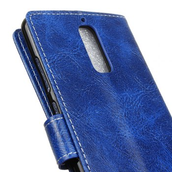 Genuine Quality Retro Style Crazy Horse Pattern Flip PU Leather Wallet Case for Huawei Mate 9 Pro - BLUE