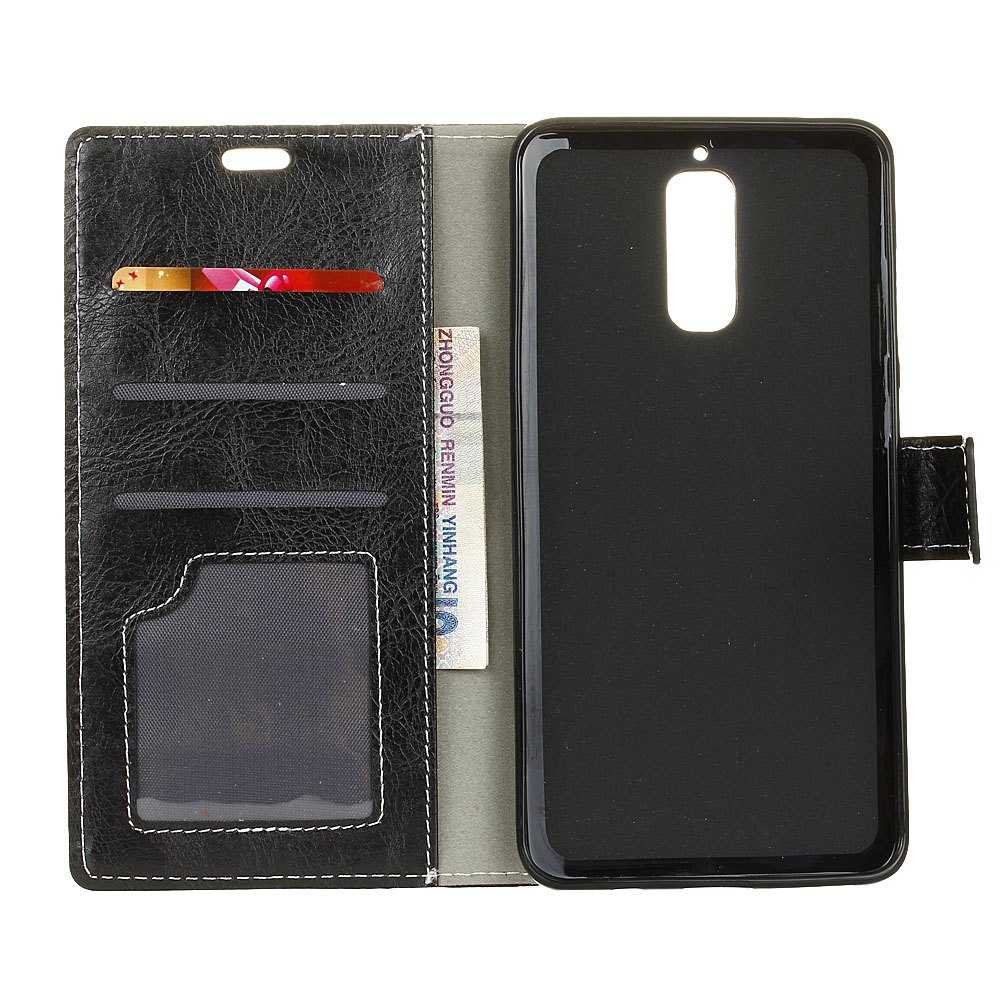 Genuine Quality Retro Style Crazy Horse Pattern Flip PU Leather Wallet Case for Huawei Mate 9 Pro - BLACK