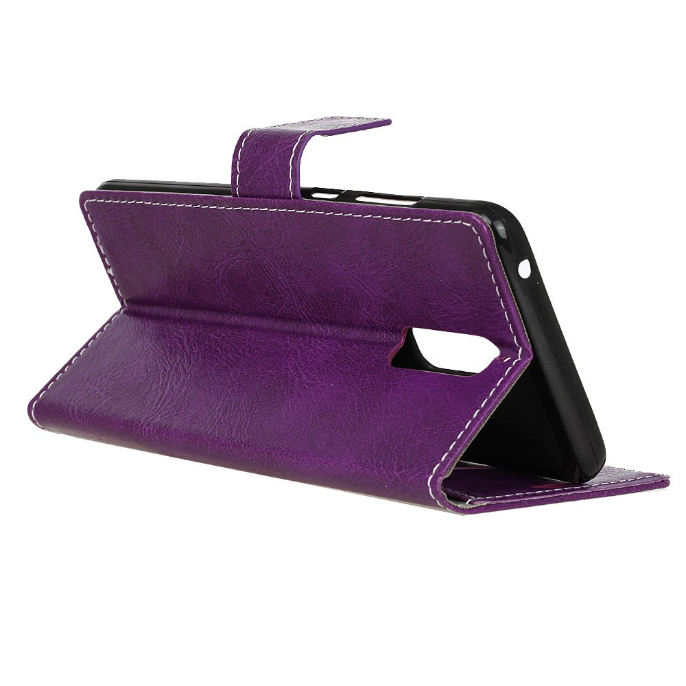 Genuine Quality Retro Style Crazy Horse Pattern Flip PU Leather Wallet Case for Huawei Mate 9 Pro - PURPLE