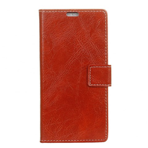 Genuine Quality Retro Style Crazy Horse Pattern Flip PU Leather Wallet Case for Samsung A8 2018 - RED