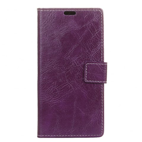 Genuine Quality Retro Style Crazy Horse Pattern Flip PU Leather Wallet Case for Samsung A8 2018 - PURPLE