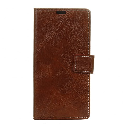 Genuine Quality Retro Style Crazy Horse Pattern Flip PU Leather Wallet Case for Samsung A8 2018 - BROWN