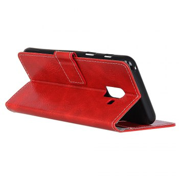 Genuine Quality Retro Style Crazy Horse Pattern Flip PU Leather Wallet Case for Samsung A5 2018 -  RED