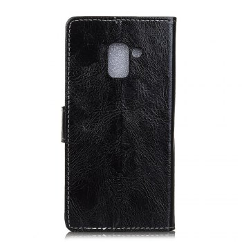 Genuine Quality Retro Style Crazy Horse Pattern Flip PU Leather Wallet Case for Samsung A8 2018 - BLACK