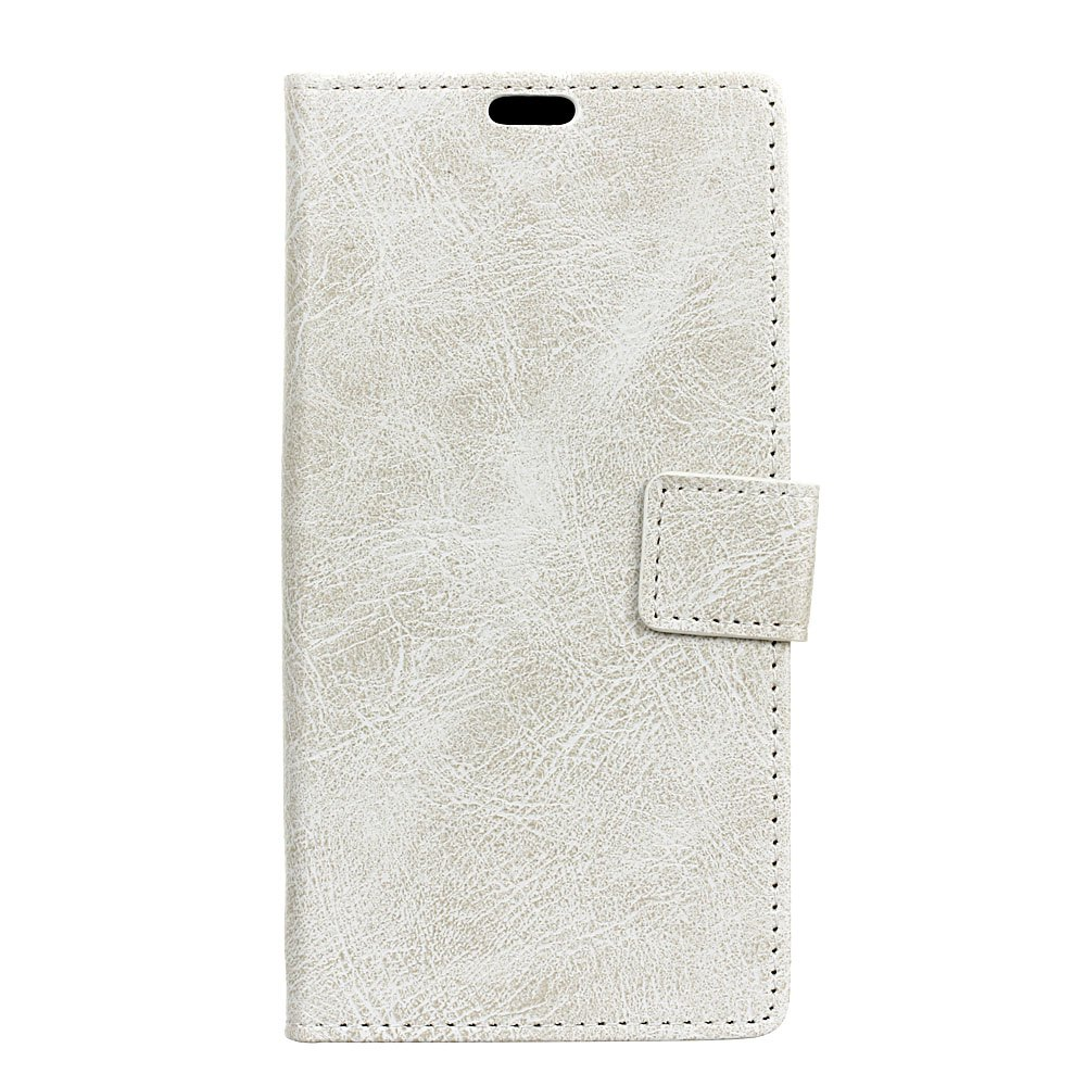 Genuine Quality Retro Style Crazy Horse Pattern Flip PU Leather Wallet Case for Samsung A8 2018 - WHITE