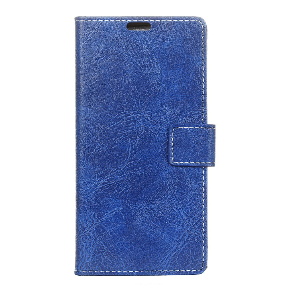 Genuine Quality Retro Style Crazy Horse Pattern Flip PU Leather Wallet Case for Samsung A8 2018 - BLUE