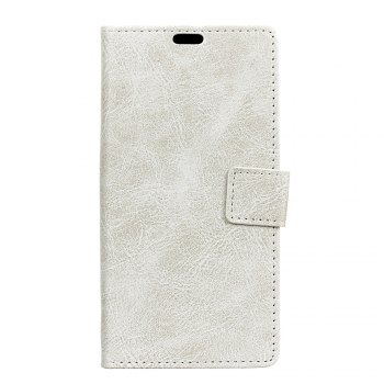 Genuine Quality Retro Style Crazy Horse Pattern Flip PU Leather Wallet Case for Samsung A7 2018 - WHITE WHITE