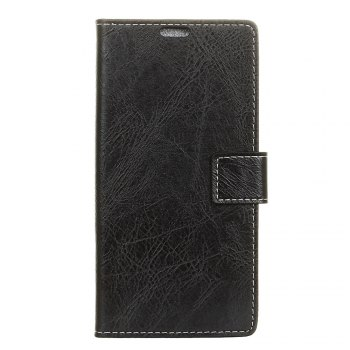 Genuine Quality Retro Style Crazy Horse Pattern Flip PU Leather Wallet Case for Samsung A7 2018 - BLACK BLACK