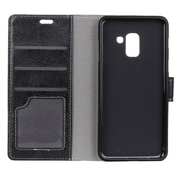 Genuine Quality Retro Style Crazy Horse Pattern Flip PU Leather Wallet Case for Samsung A7 2018 -  BLACK
