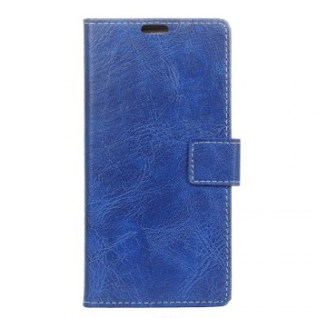 Genuine Quality Retro Style Crazy Horse Pattern Flip PU Leather Wallet Case for Samsung A7 2018 - BLUE BLUE