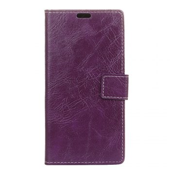 Genuine Quality Retro Style Crazy Horse Pattern Flip PU Leather Wallet Case for Samsung A7 2018 - PURPLE PURPLE