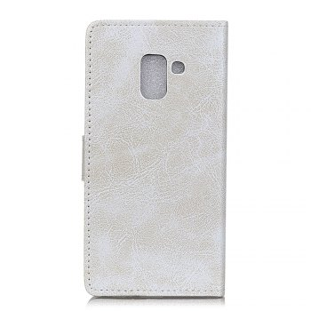 Genuine Quality Retro Style Crazy Horse Pattern Flip PU Leather Wallet Case for Samsung A8+ 2018 - WHITE
