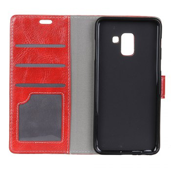 Genuine Quality Retro Style Crazy Horse Pattern Flip PU Leather Wallet Case for Samsung A8+ 2018 - RED