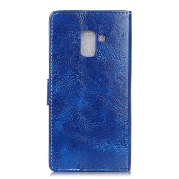 Genuine Quality Retro Style Crazy Horse Pattern Flip PU Leather Wallet Case for Samsung A8+ 2018 - BLUE