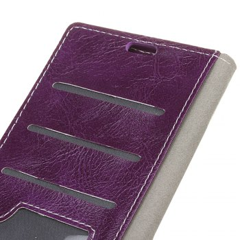 Genuine Quality Retro Style Crazy Horse Pattern Flip PU Leather Wallet Case for Samsung A8+ 2018 - PURPLE