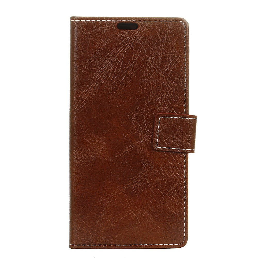 Genuine Quality Retro Style Crazy Horse Pattern Flip PU Leather Wallet Case for Samsung A8+ 2018 - BROWN