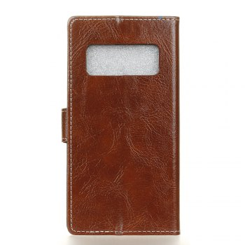 Genuine Quality Retro Style Crazy Horse Pattern Flip PU Leather Wallet Case for Samsung Note 8 -  BROWN
