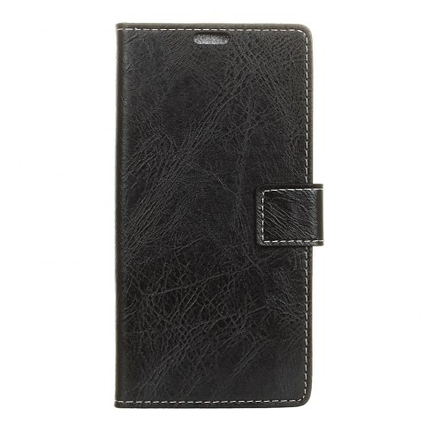 Genuine Quality Retro Style Crazy Horse Pattern Flip PU Leather Wallet Case for Samsung S8 - BLACK